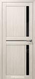 Дверь межкомнатная из эко шпона Дельта М Снежная Лиственница Лакобель черное