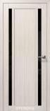 Дверь межкомнатная из эко шпона Гамма М2 Снежная Лиственница Лакобель черное